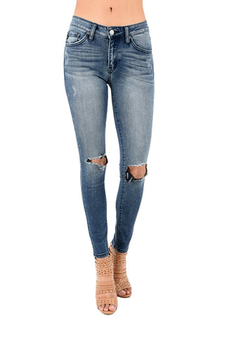 Kan Can Women's Mid Rise Skinny Jeans Dark Wash  KC8323D