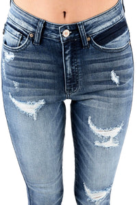 Kan Can Women's High Rise Destroyed Skinny Jeans  KC8352