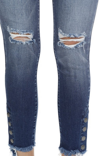 Kan Can Women's  Mid Rise Destroyed Skinny Jeans Dark Wash  KC8384D