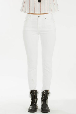 Kan Can Mid rise Destroyed Skinny Jeans White  KC8395WT