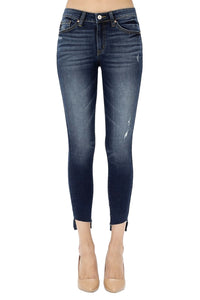 KanCan Women's Mid Rise Unfinished Frayed Hem Ankle Skinny Jeans Dark  KC8396D