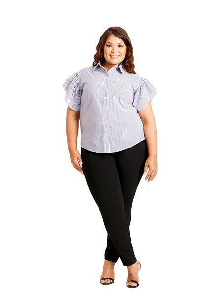 Susan Miller Women's Plus-size Short Sleeve Button Down Shirt Top