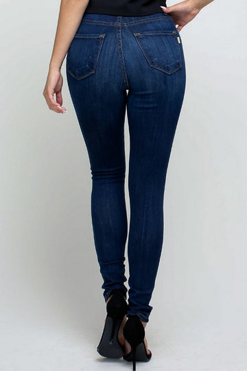 Vibrant High Rise Button-Fly Skinny Jeans  P1242