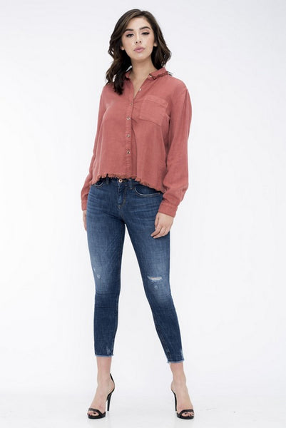 Sneak Peek Mid Rise Skinny Jeans Dark Wash  SP-P10101