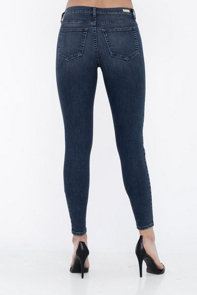 Sneak Peek Mid Rise Destroyed Skinny Jeans Dark Wash  SP-P10234