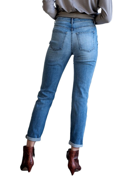Sneak Peek Women's High-Rise Tomboy Skinny Jeans With Distressed Knees 10604