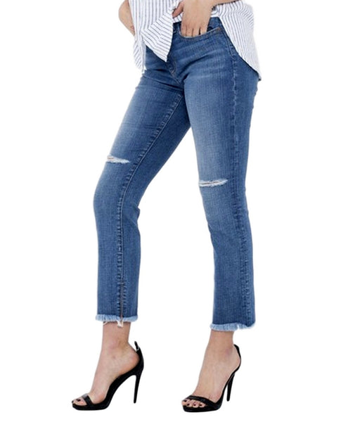 Sneak Peek Women's Mid-Rise Raw Hem Straight Jeans With Knee Slits 10613