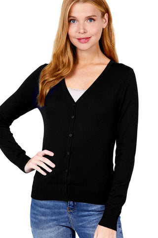 Active USA Women's Long Sleeve V-Neck Button Down Sweater Cardigan