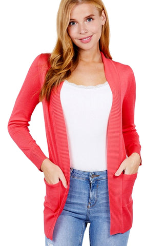 Active USA Women's Long Sleeve Rib Banded Open Sweater Cardigan with Pockets