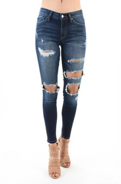 Kan Can Women's Mid Rise Destroyed Skinny Jeans   KC8338D