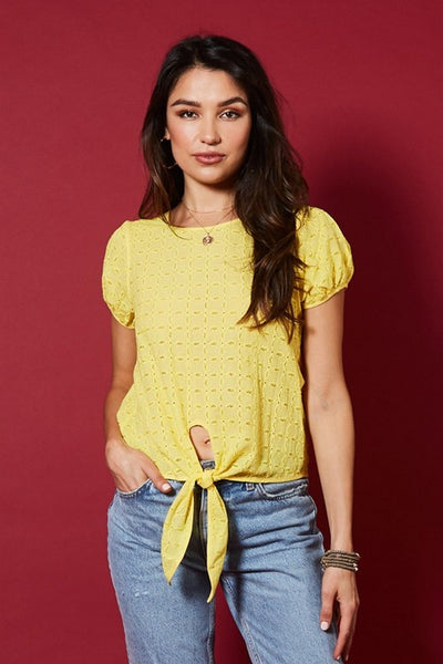 Available Tied Short Sleeve Top  T51759W