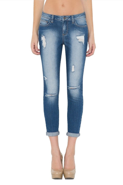 Cello Women's Distressed Crop Skinny Jeans Dark Denim