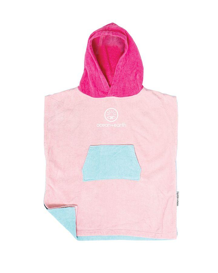 O&E TODDLERS HOODED PONCHO - SHELL PINK
