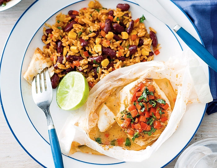 Mexican fish parcels with rice and beans