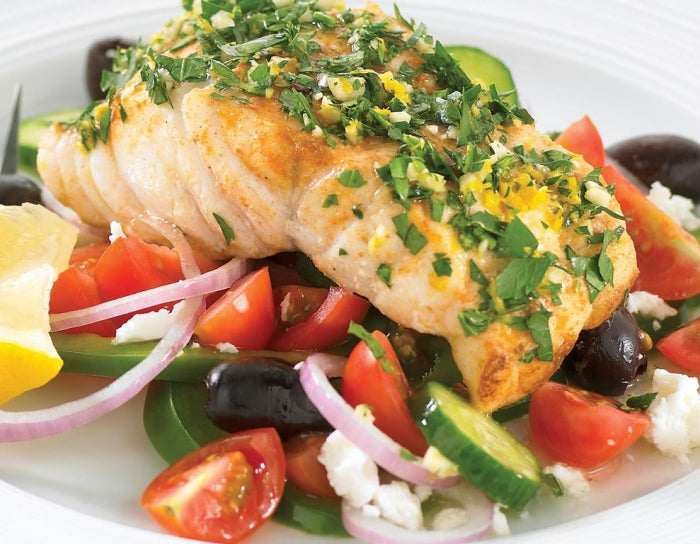 Parsley Fish With Greek Salad