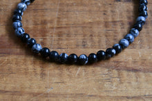 Load image into Gallery viewer, Snowflake Obsidian Bracelet (4mm)