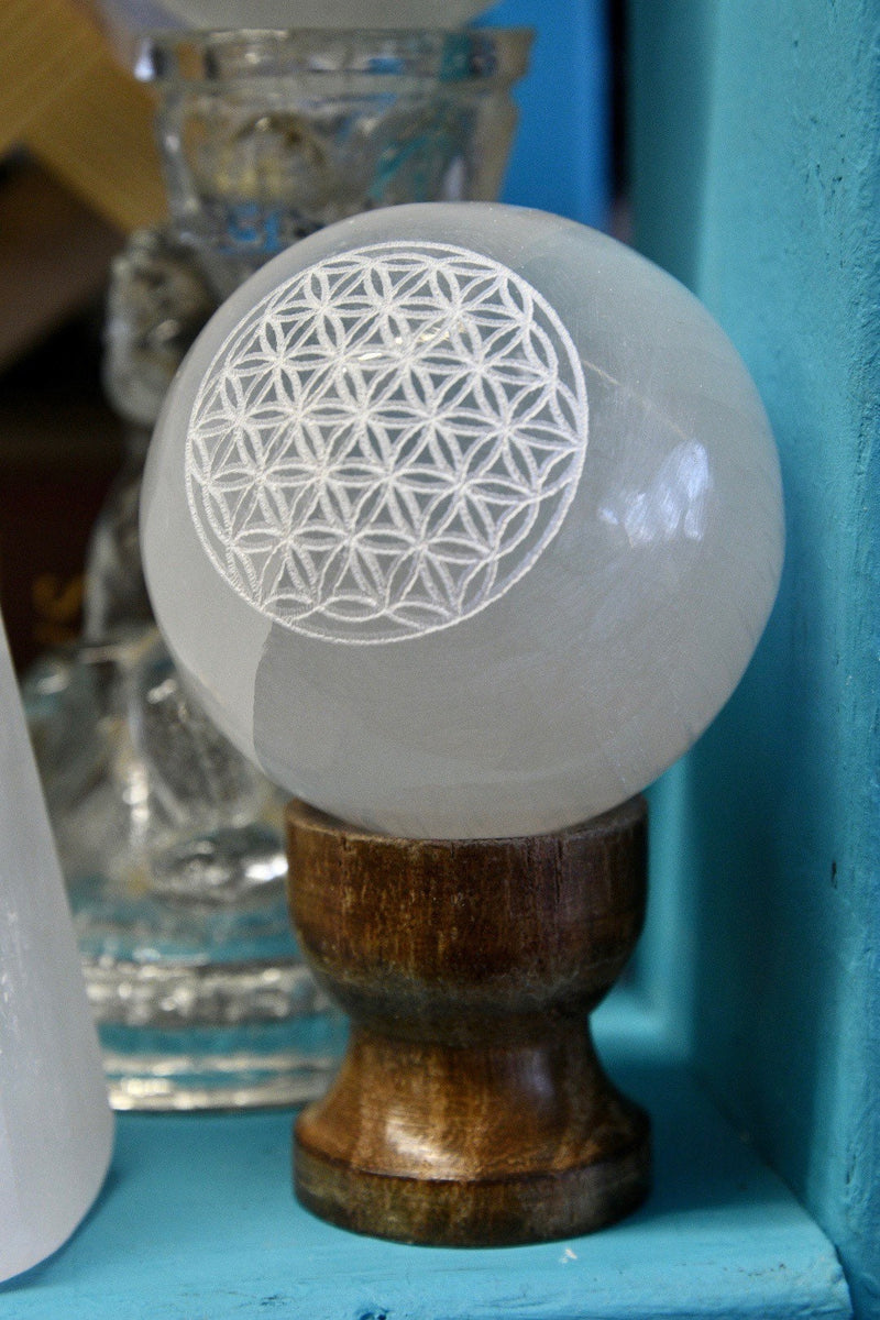 "Flower of Life Selenite Sphere (2"")"