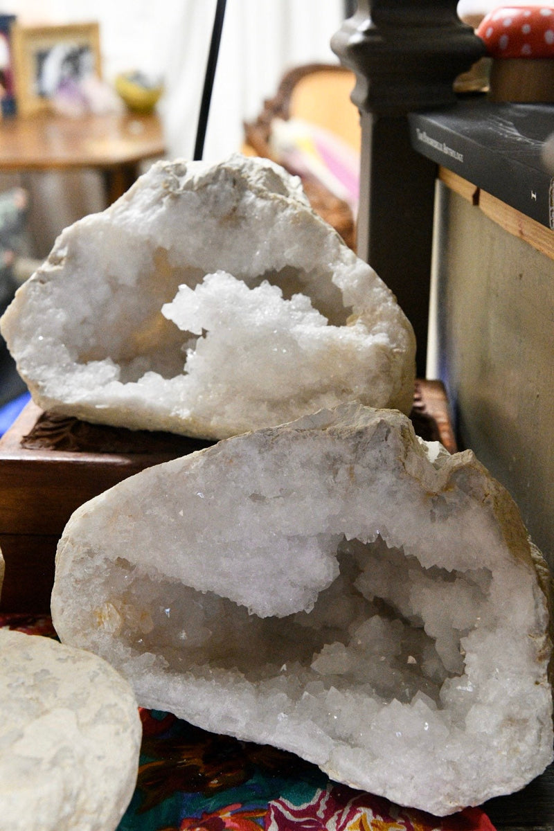 LARGE White Calcite Geode - One Set 2 Pieces