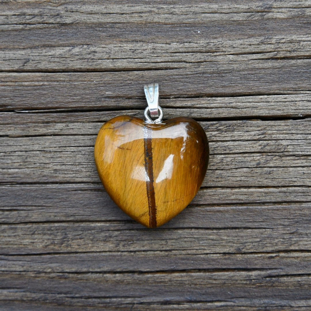 Gold Tiger's Eye Heart Pendant