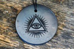 "Shungite (2"") Pendant w/ All-Seeing Eye for EMF Protection"
