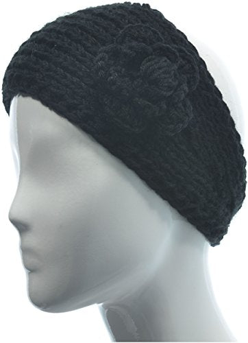 Hand By Hand Womens Knitted Headband Headwrap Crocheted Floral