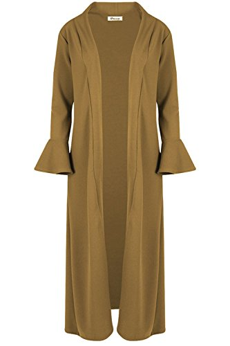 Womens Ladies Front Open Ruffle Frill Long Sleeve Duster Jacket Maxi Cardigan