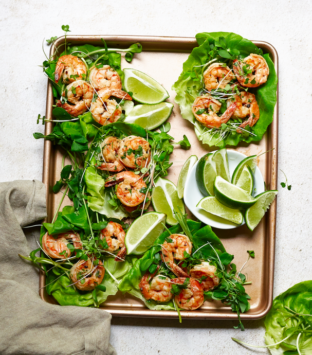 Microgreen Shrimp & Lettuce Wraps
