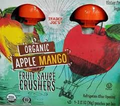 Trader Joe's Organic APPLE MANGO Fruit Crushers (4 - 3.17 ounce squeezable pouches)