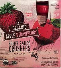 Trader Joe's Organic APPLE STRAWBERRY Fruit Crushers (4 - 3.17 ounce squeezable pouches)