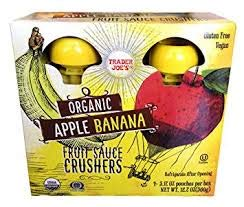 Trader Joe's Organic APPLE BANANA Fruit Crushers (4 - 3.17 ounce squeezable pouches)