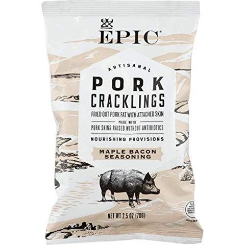 Epic Artisanal Oven Baked Pork Rinds, Variety Pack, Chili Lime, BBQ, Crackling Maple Bacon, Pink Himalayan Sea Salt, Sea Salt & Pepper, 2.5 oz. ( 5 Count )