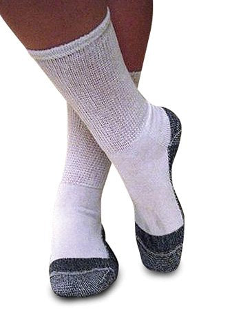 MDI J-200 Roomy Diabetic Socks - White Crew, Medium