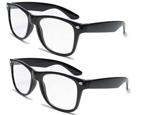 2 Pairs Deluxe Reading Glasses - Comfortable Stylish Simple Readers Magnification (2 black pair, 1.5 x)