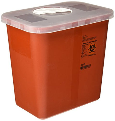 Kendall COVIDIEN Multi-Purpose Sharps Container with Rotor Lid, Red