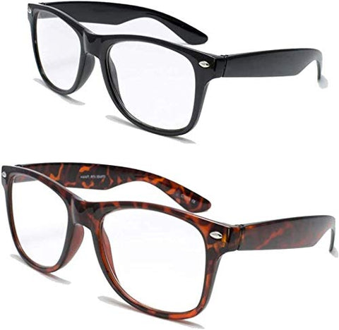 2 Pairs Deluxe Reading Glasses - Comfortable Stylish Simple Readers Magnification (1 tortoise 1 black, 2 x)