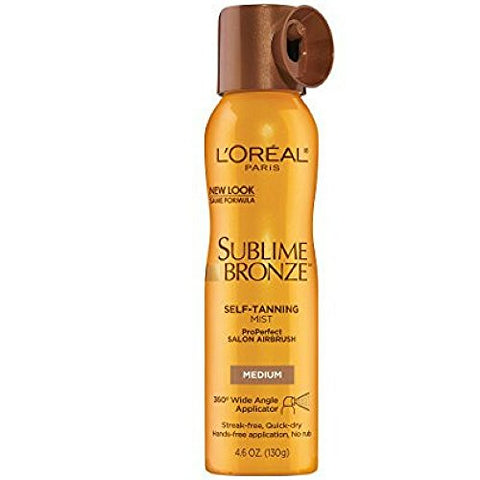 L'Oreal SUBLIME BRONZE Self-Tannning Mist, Medium Natural Tan 4.60 oz ( Pack of 3)
