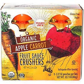 Trader Joe's Organic APPLE CARROT Fruit Crushers (4 - 3.17 ounce squeezable pouches)