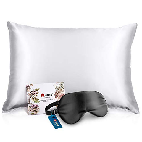 Bundle of Silk Pillowcase and Silk Sleep Mask, 19 Momme 100% Mulberry Silk Bed Pillow Case with Hidden Zipper and Perfect Blocks Light Eye Mask