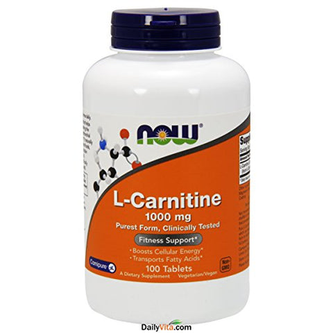 Now Foods L-Carnitine 1000 mg - 100 Tabs 2 Pack