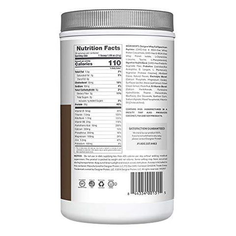 Designer Protein Whey Protein Powder, Non GMO, Made in USA Gourmet Chocolate Chocolate 2 Pound 32 Ounce