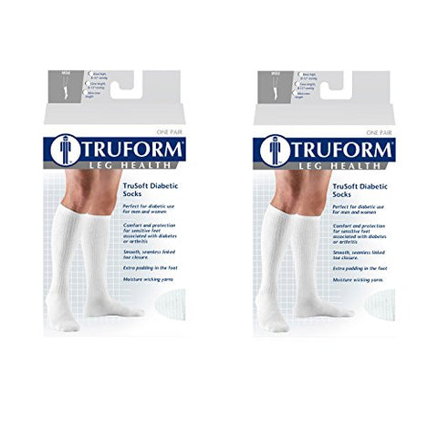 Truform 8-15 mmHg of compression, Trusoft Crew Socks One Pair, XS, Black (Set of 2)