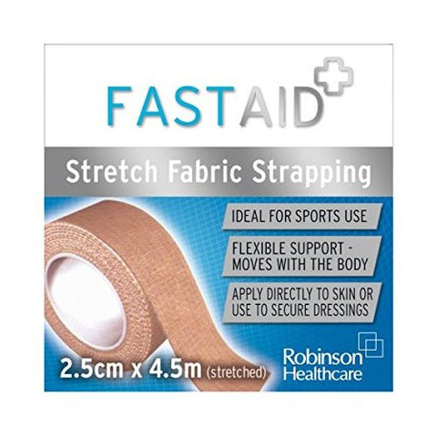 Fast Aid Zinc Stretch Fabric Strapping Bandage 2.5cm X 4.5m [Health and Beauty]