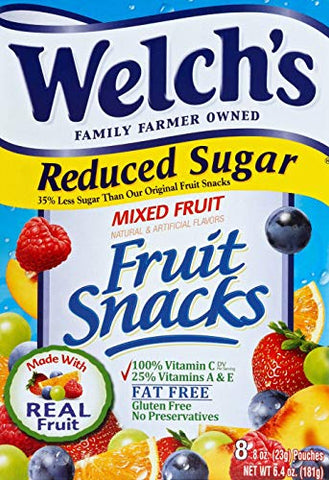 Welch's Fruit Snacks, Mixed Fruit 0.8oz pouches, 8 count, 6.4oz