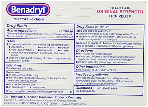 Benadryl Itch Stopping Cream, Original Strength, 1 Ounce (Pack of 6)