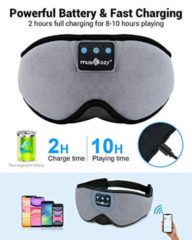 Sleep Headphones Bluetooth Eye Mask for Men Women, 3D Contoured Cup Music Sleeping Blindfold, Block Out Light Night Sleep Mask, Soft Comfort Eye Shade Cover for Travel Yoga Nap
