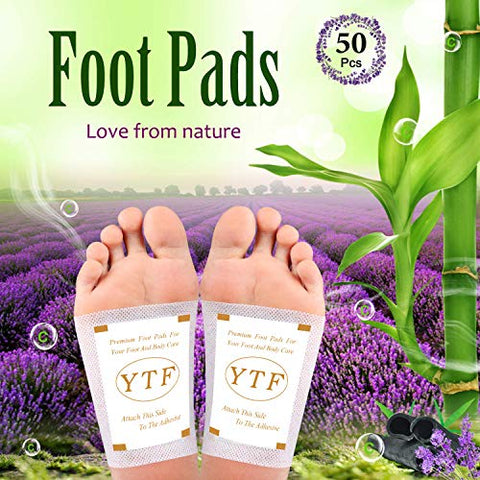 Foot Pads - (50pcs) lavender -Organic All Natural Formula for Impurity Removal, Pain Relief, Sleep Aid, Relaxation - cleansing foot patch Better Sleep Aid Relaxing