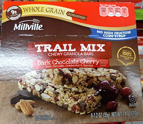 Millville Trail Mix Chewy Granola Bars Dark Chocolate Cherry, 100% Whole Grain 7.4oz(1.2oz x 6bars), Pack of 1
