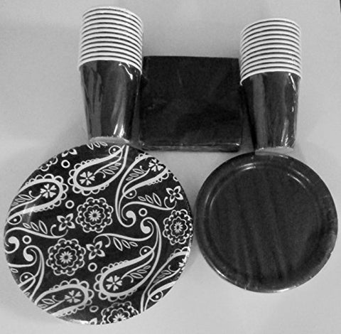 Black Coordinating Paper Plate Set for 18 by Greenbrier