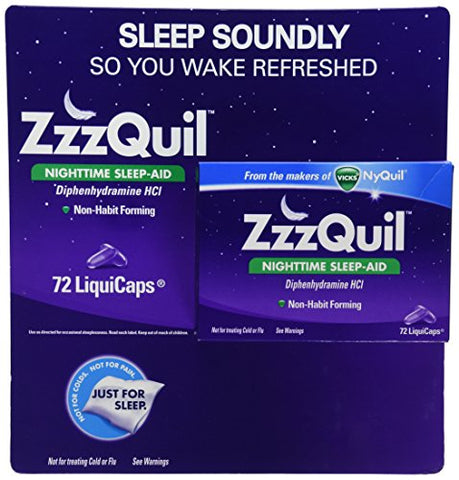 ZzzQuil Nighttime Non-Habit Forming Sleep Aid, Fall Asleep Fast and Wake Refreshed, 72 Ct LiquiCaps
