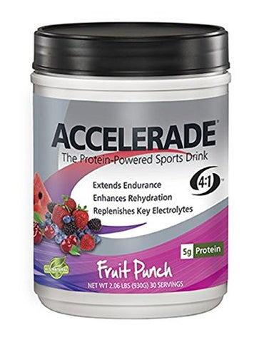 PacificHealth Accelerade, All Natural Sport Hydration Drink Mix with Protein, Carbs, and Electrolytes for Superior Energy Replenishment - Net Wt. 2.06 lb., 30 serving (Fruit Punch)